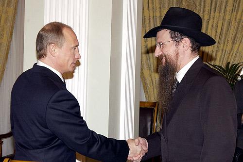 Wladimir Putin mit Berel Lazar, dem Oberrabbiner Russlands