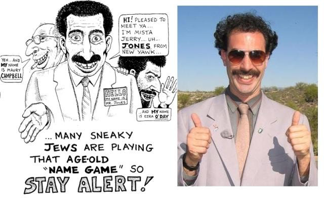 """Hi! Schön, Sie kennenzulernen! Ich bin Mista  Jerry ... ähm...  Jones aus New Yawk. Viele verschlagene Juden spielen das uralte """"Namensspiel"""", also seid wachsam!"""